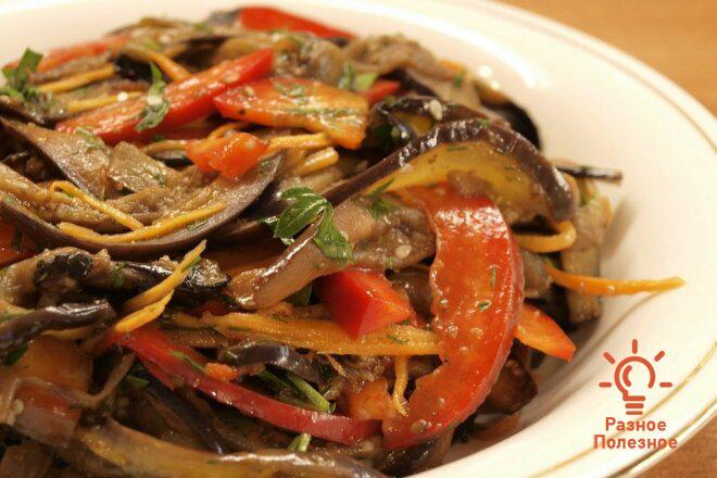Корейский салат. «Хе» из варёных баклажанов. Пошаговый рецепт.