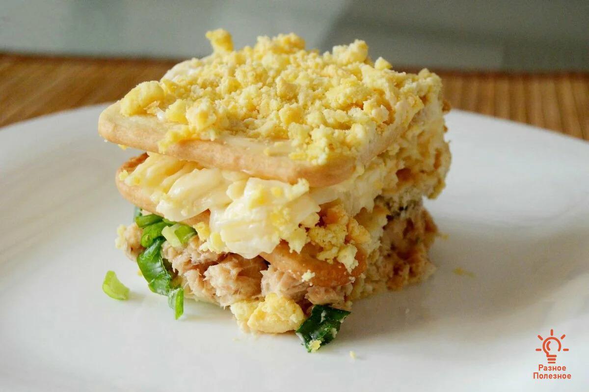 Салат с крекерами. Фото-рецепт.