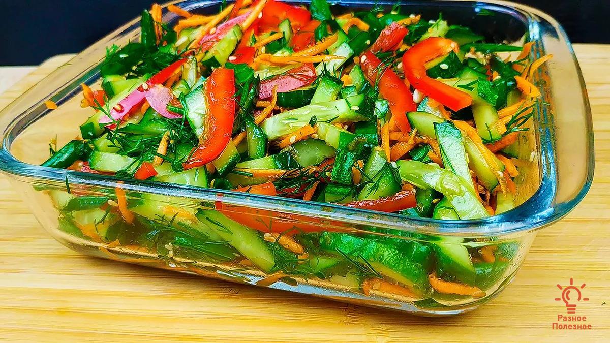 Салат с огурцом за 10 минут