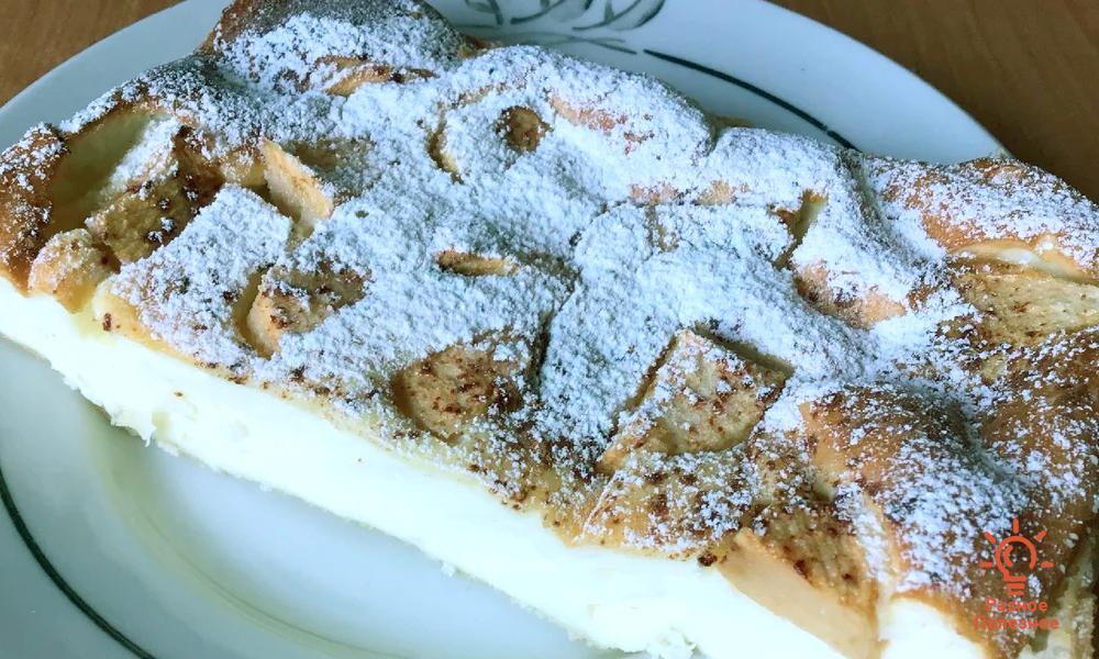 Нежный творожный десерт с яблоками и корицей, без муки и сахара