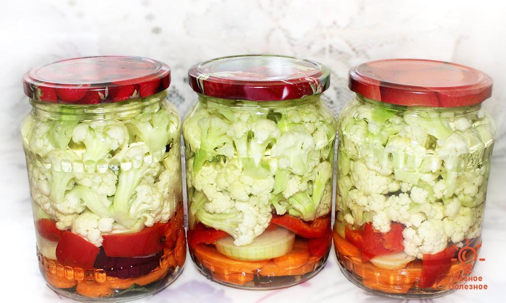 Салат из цветной капусты на зиму. Пошаговый рецепт с фото
