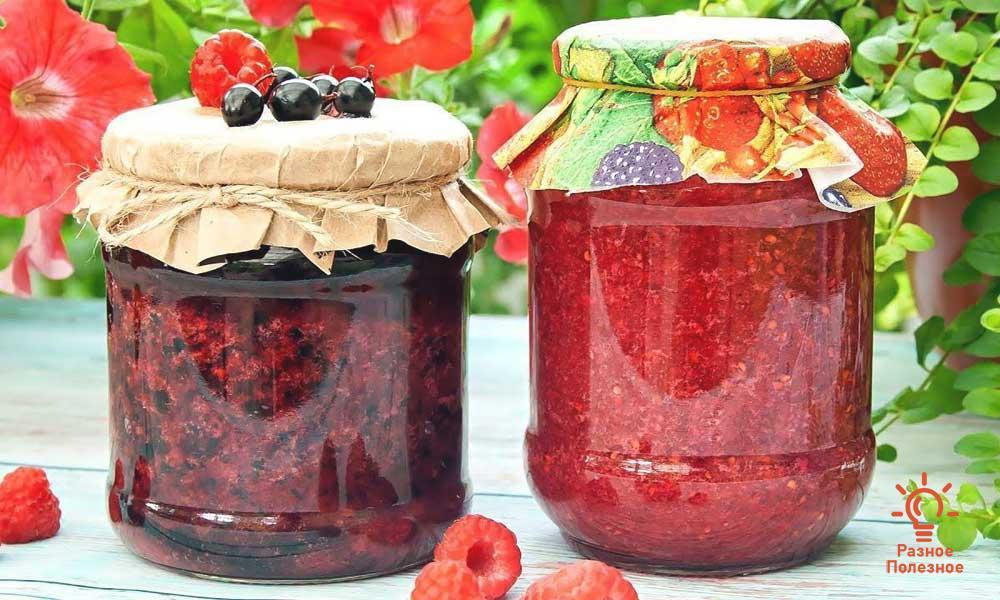 Варенье без варки из малины и смородины. Рецепты
